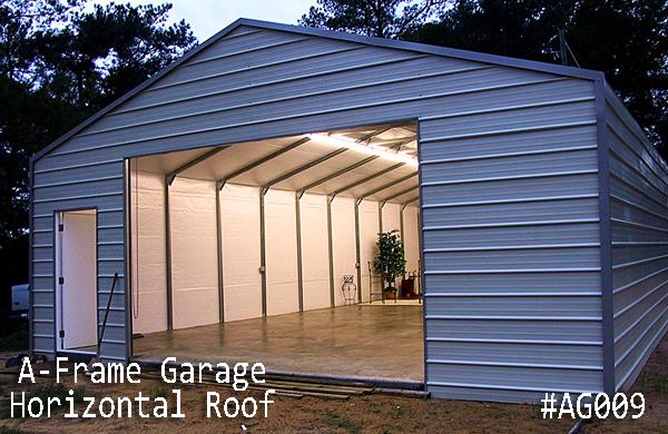 Metal A-Frame Horizontal Garage