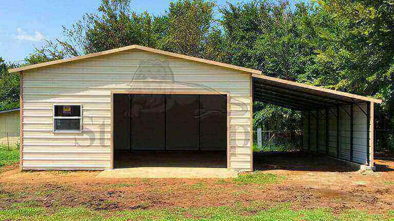 20×35 Steel Garage With Lean To