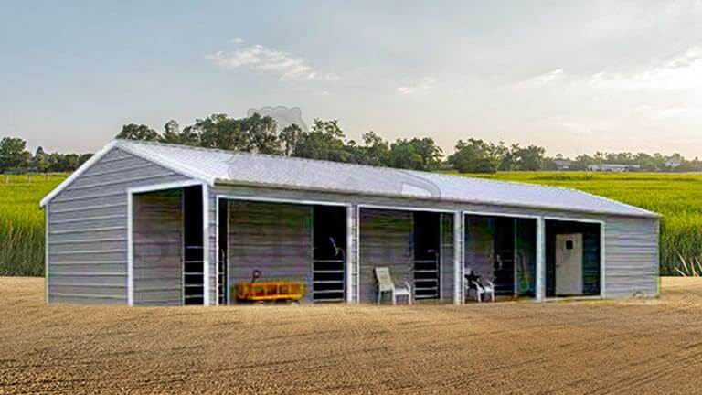 24x50 Aframe Vertical Roof Horse Stall