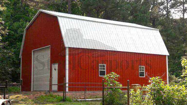 30×30 Fully Enclosed Gambrel Barn