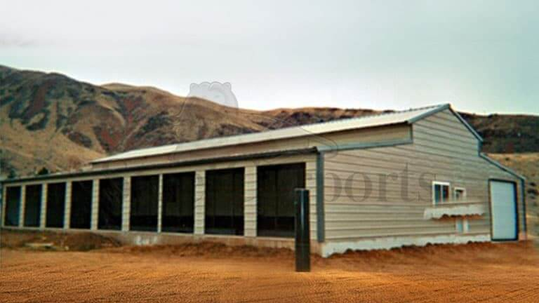36×100 Aframe Vertical Roof Horse Stall